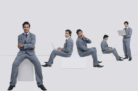 welldressed: Multiple image of businessman performing various tasks against white background