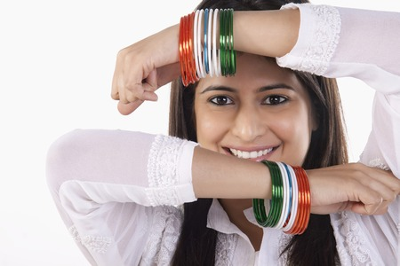 tricoloured: Woman with bangles