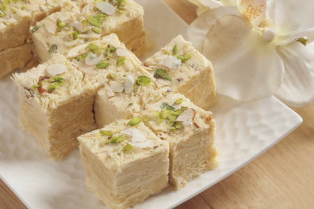 Close-up of soan papdi