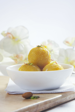 Laddu in a bowl Stock Photo