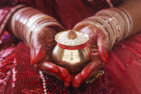 medium body: Close-up of a Brides hands performing marriage rituals with kalash