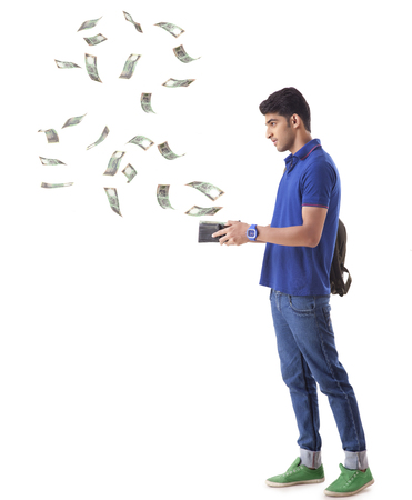 large group of business people: man with money flying out of his wallet
