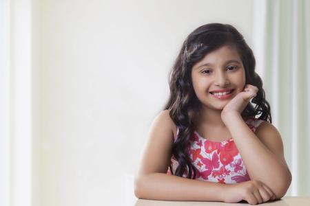 preadolescent: Portrait of cute girl smiling