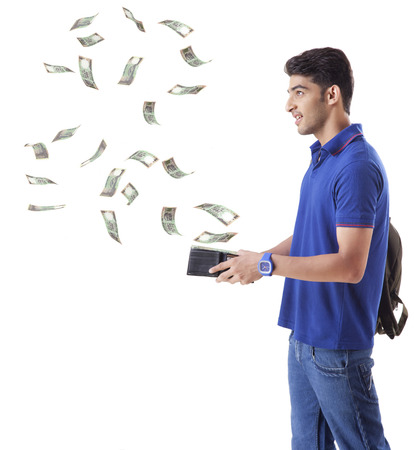 pleasing: man with money flying out of his wallet
