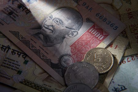 minted: Indian currency - notes and coins