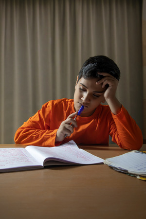 Portrait of boy while doing his homework at home
