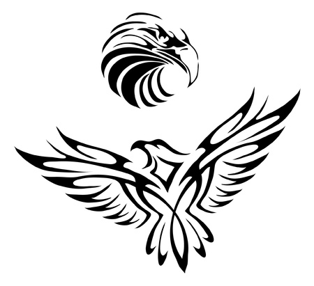 adler silhouette: Tattoo eines Adlers Illustration