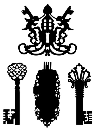 Collection of silhouettes of ancient keys