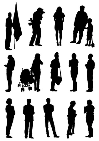 school boys: Collection of silhouettes of people