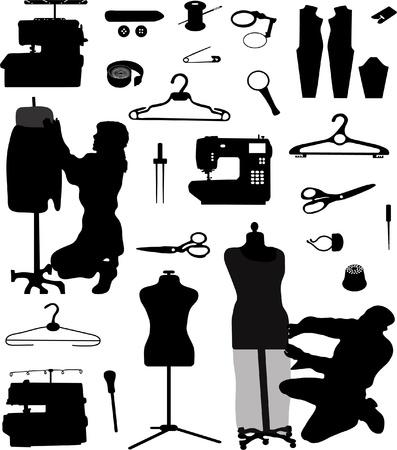 Verzameling van silhouetten van naaien vaardigheid Vector Illustratie