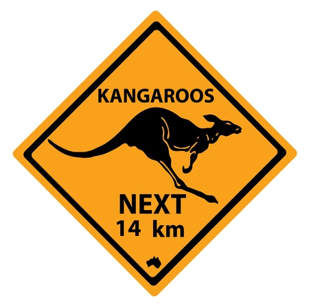 Road sign with a kangaroo Vector