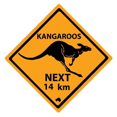 beware: Road sign with a kangaroo
