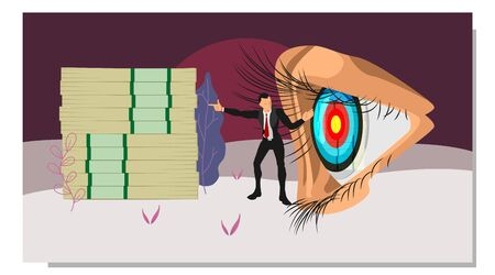 a businessman tells the eyes focus on the pile of money. vector concepts focus on finance. eps10 vector file