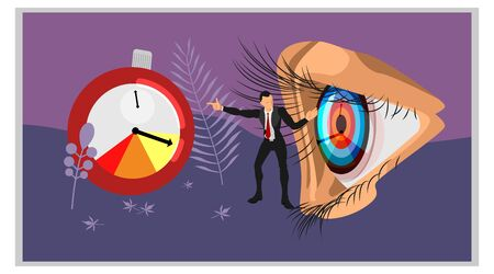 a businessman tells the focus of the eye to the time marker. vector concepts focus on time. eps10 vector file Stock Illustratie