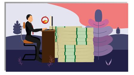conceptual front cover. business people type in front of the computer with a target of a lot of time and money. financial vector with natural nuances. Иллюстрация