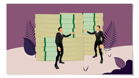 two business people are discussing about money. vector of business people character with money in the park area. frames with plant shades. Illustration