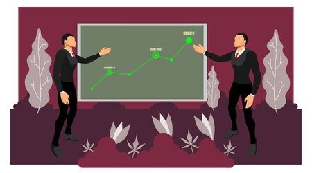 two business figures are presenting corporate earnings using infographic charts on the board. vector file with natural shades of plants. eps10 file Иллюстрация