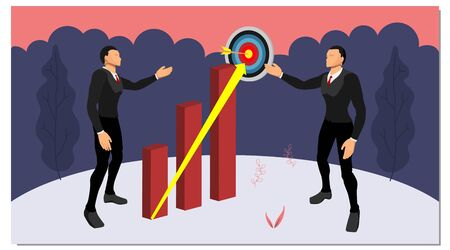 two business people are discussing planning business goals. a two-character vector showing the direction to the target points with hill and tree frames. eps10 file Illustration