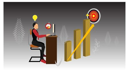 a businessman is sitting on a chair facing a working computer screen. vector contains characters and infographic charts. eps10 file