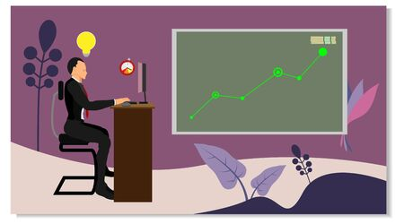 businessman characters with ideas and time limits are sitting working in front of a computer screen. displays the progress chart of a financial statement business process. vector with summer style. eps vector 10