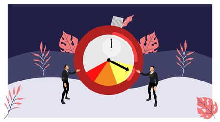 the two business characters are currently showing the timer display symbol of the work time limit. vector deadline theme with summer style. eps10 vector