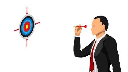 businessmen target the target. throwing an arrow needle.