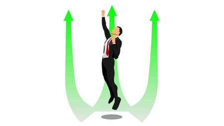 a businessman flies up in the direction of the arrow.