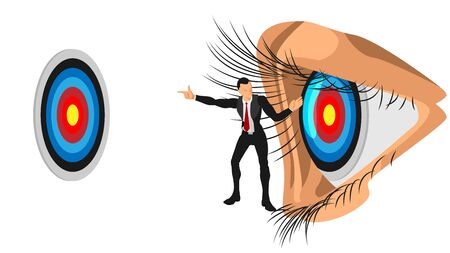 the illustration of a leader gives direction to the focus on the target.