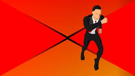 background with illustrations of a running businessman. Stock Illustratie