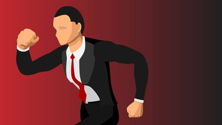 Vector image of a well-dressed male running close-up. blank background.  イラスト・ベクター素材