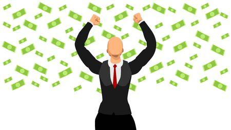 vector illustration business people celebrate when it rains money to achieve success. Ilustrace