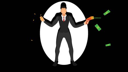 Mafia businessmen hold gold coins and money pistols. Stock Illustratie