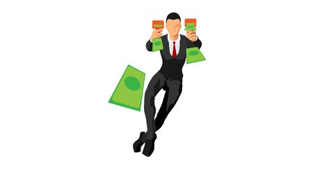 businessmen throw paper money with tools. flat vector characters with solid colors.