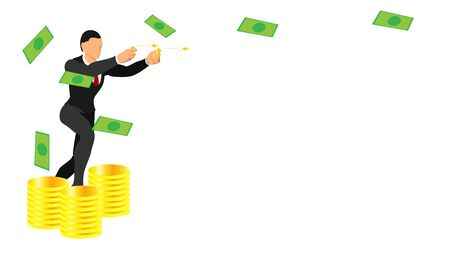 businessmen throw gold coins. flat vector characters with solid colors.