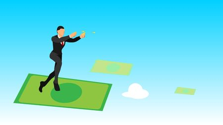 businessmen throw gold coins in the sky. flat vector characters with solid colors.