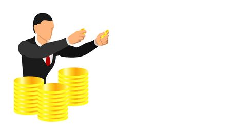 a businessman holding a gold coin. illustration of having gold coins as inventory. Promotional and presentation background templates. Stockfoto - 136053392