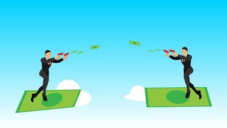 illustration of two businessmen using banknotes launchers in the sky. flat vector characters with solid colors. surfing with money.