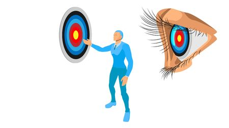 blue entrepreneurs show the target to the subject. illustration focus on the target. vector file