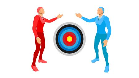 illustration of two blue-right and red-left businessmen. they are showing the target focus of the circle.
