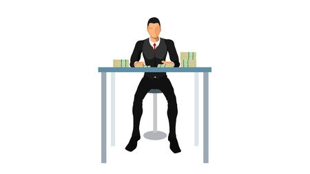 a well-dressed businessman is sitting in a chair, in front of the table there are lots of dollars.  イラスト・ベクター素材