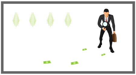 illustration of a businessman carrying bags and loops. identify traces of money.