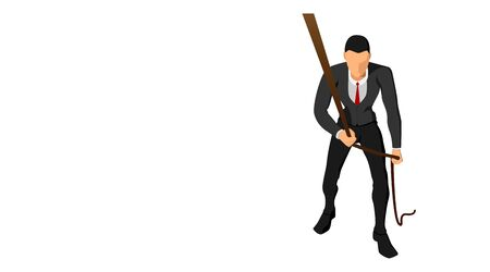 front view of a businessman pulling a rope with his hand. business background template vector file design. Vector Illustration