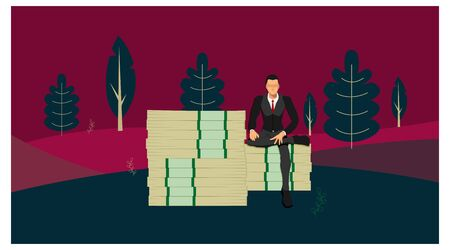 a businessman who sits on a giant pile of money with a pose of a rich man against a background of trees and fresh natural hills. Stock Illustratie