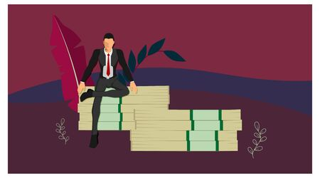 a businessman sitting on a giant pile of money with a pose of a rich man with a background in landscape. with separate layers of each vector object. Vektorgrafik