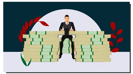 a businessman sitting on a pile of big money with a pose of a rich man with an empty background. with separate layers of each vector object.