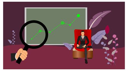 a businessman sitting on a red chair with a pose of a rich man with background graphic info. identify charts with loop.