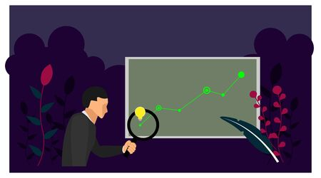a businessman identifies ideas on developing business growth info charts. business infographics with plant frames. Ilustração