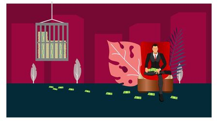 a businessman sitting in a red chair with money scattered. money safe with a large and secure safe. the concept of safe cartoon money with a plant sweetener design.