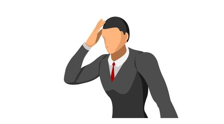half body. characters wearing suits stand holding their heads. body gestures indicate discrepancies, errors and bankruptcies.