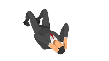 The character wears a suit lying on the floor holding his head. body gestures indicate discrepancies, errors and bankruptcies.